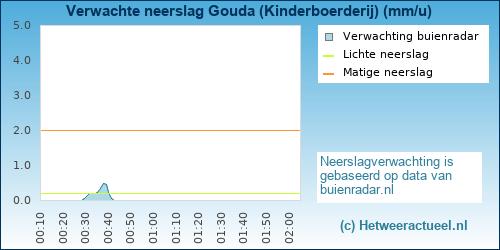 neerslag verwachting Gouda (Kinderboerderij)