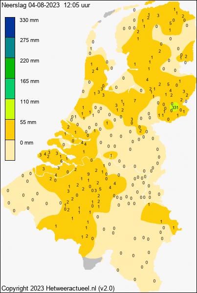 Actuele neerslag kaart