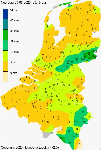 Actuele neerslag Nederland HWA