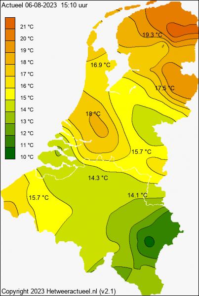 Temperatuurkaart van hetweeractueel.nl