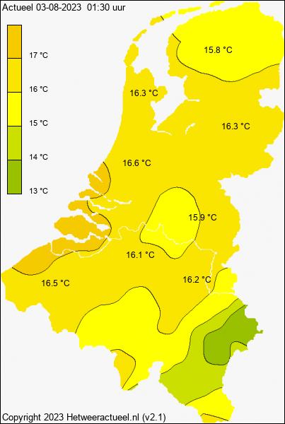Actuele temperatuur kaart