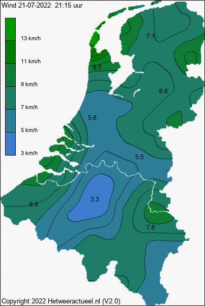 Actuele wind kaart
